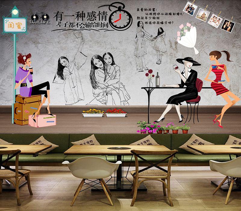 餐厅墙体彩绘图片大全